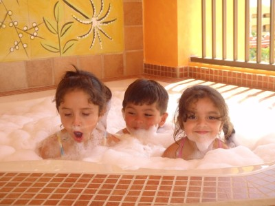 Bubble bath jacuzzi time on the balcony of our private villa!