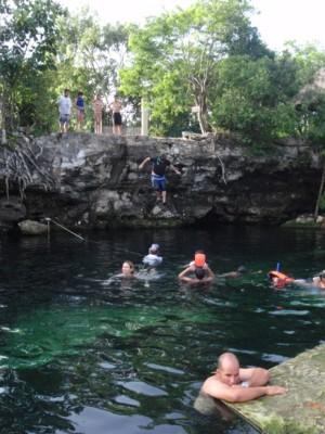 Jumping into the Cenote Cristalino!