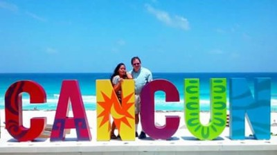 My wife and I at the famous Cancun Sign!