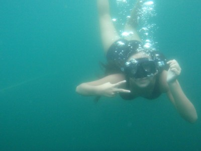 Beautiful clear blue water at The Laguna de Bacalar!