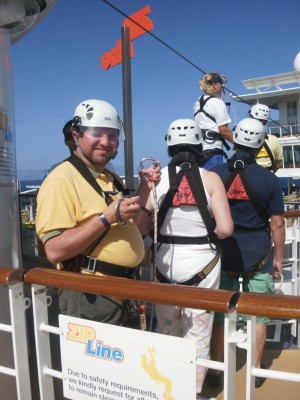 Zip-lining on-board The Royal Caribbean Cruiseliner Allure of the Seas
