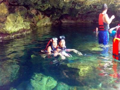 My nephew and niece at Cenote Cristalino