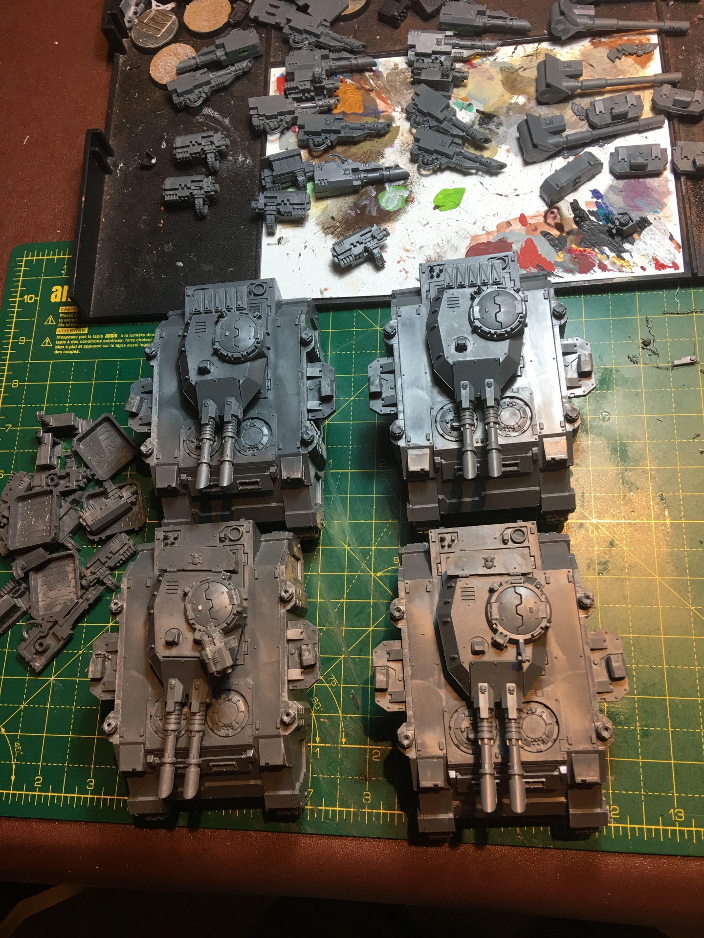 Adeptus Astartes Predator Tanks under construction
