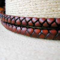 Braided leather wide braided hatband