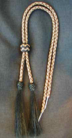 Tan braided stampede strings for hat w/ black horse hair tassels