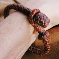 Leather herringbone ridge bracelet