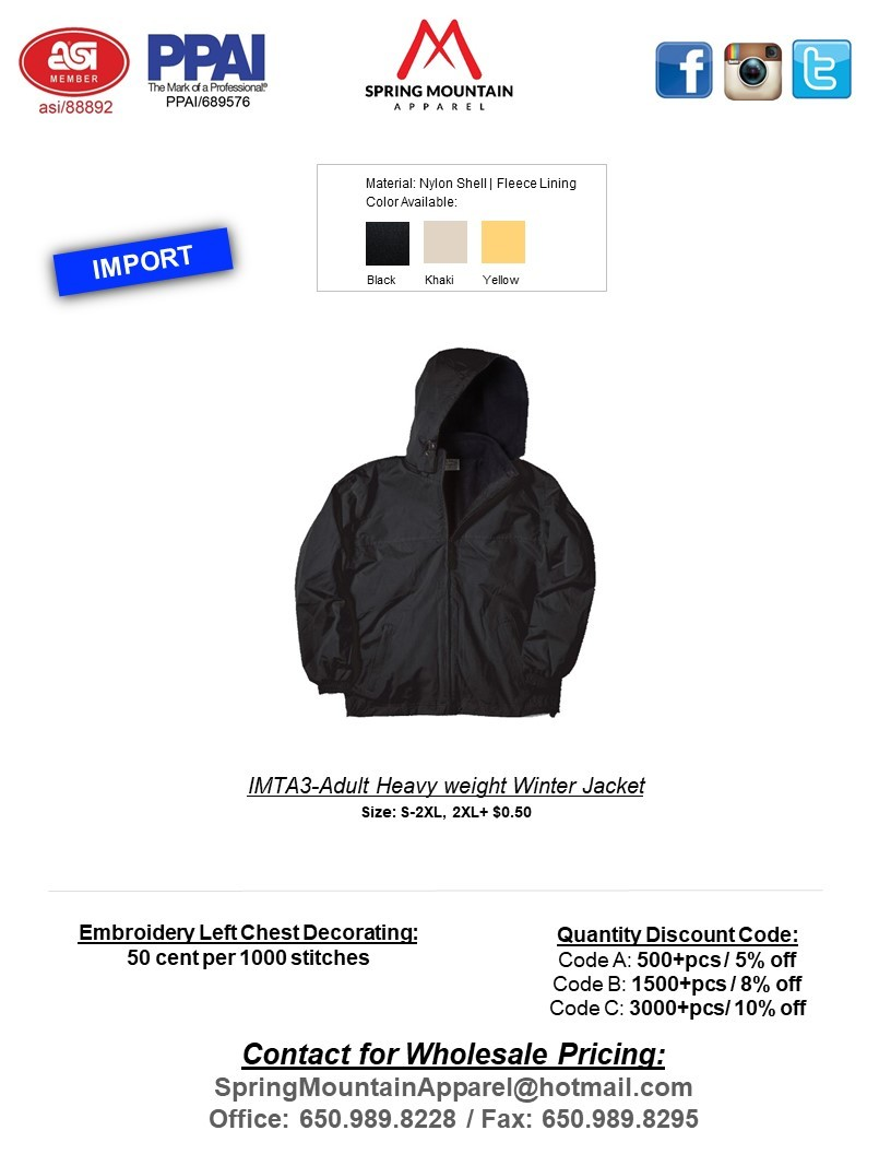IMTA-3 ADULT HEAVY WEIGHT WINTER JACKET