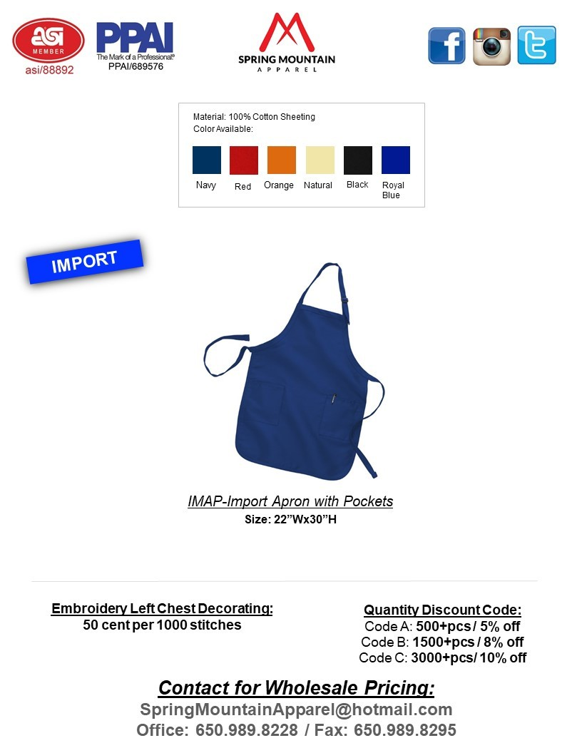 IMAP-IMPORT APRON WITH POCKETS