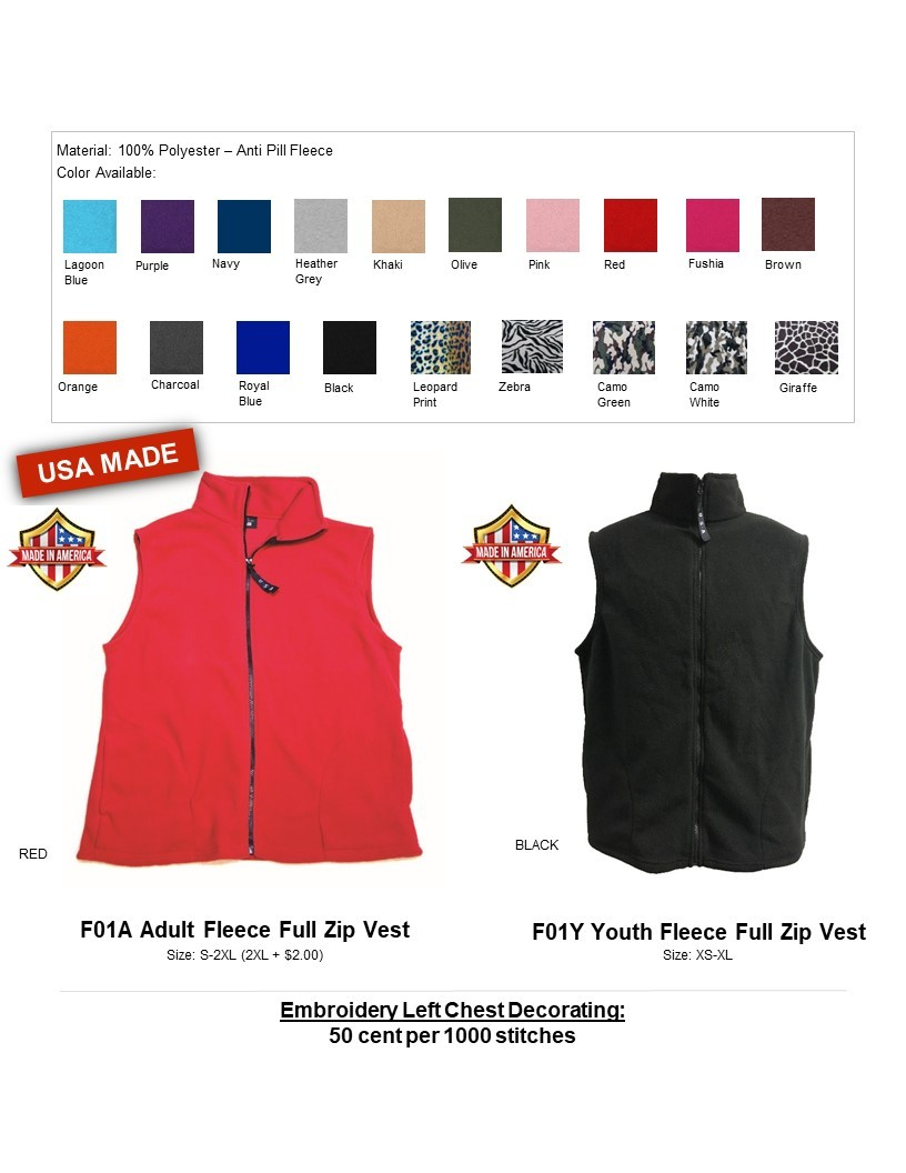 F01A-Anti Pill Fleece Vest