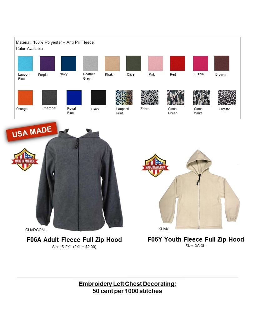 F06A-Anti Pill Fleece Full Zip Hood Jacket