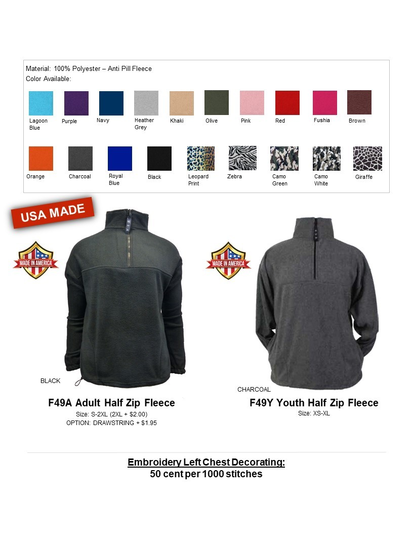 F49A- Anti Pill Fleece Half Zip Jacket