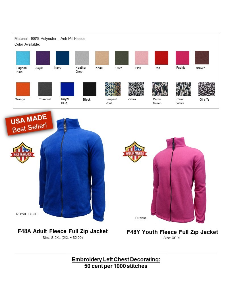 F48A-Anti Pill Fleece Full Zip Jacket