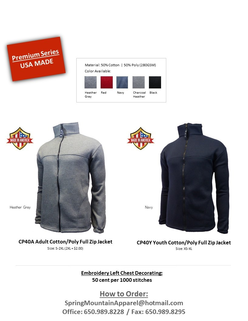 CP40A - Cotton/Polyester Full Zip Jacket