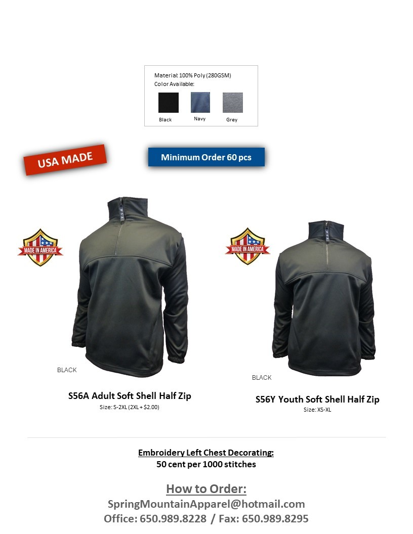 S56A-Thermo Soft Shell Half Zip Jacket
