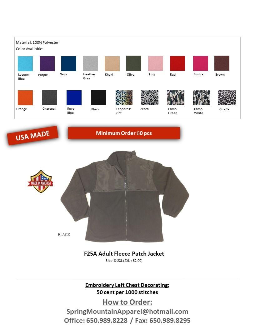 F25A-Anti Pill Fleece Patch Full Zip Jacket