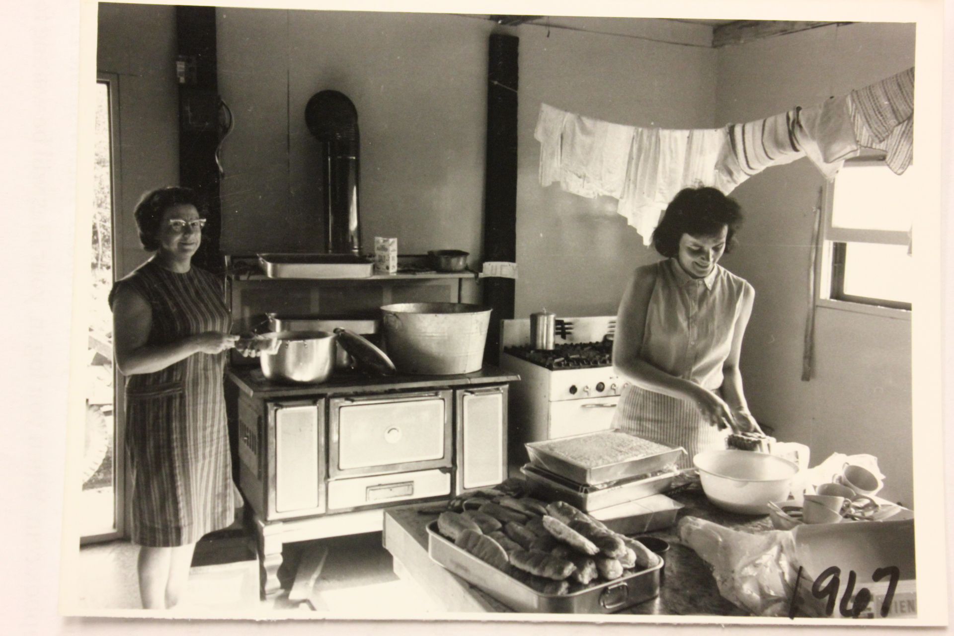 Reba Cofield cooking in the original lodge kitchen