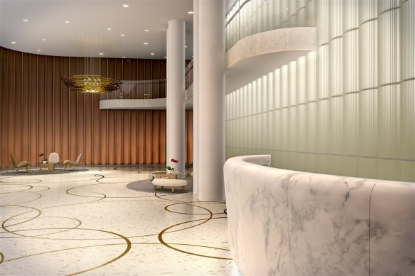 Serene lobby with limestone and bespoke terracotta features