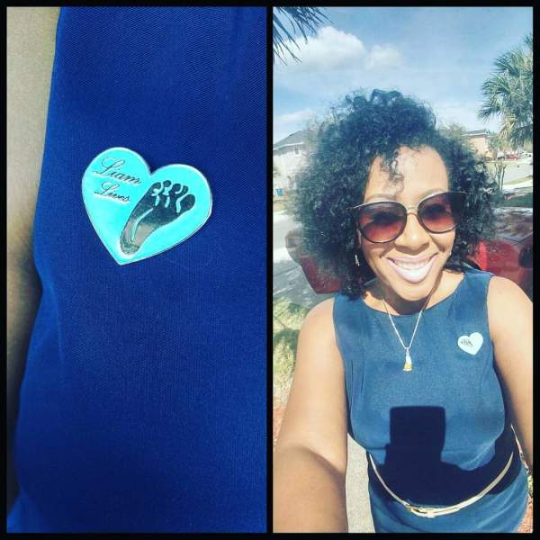 Mommy wearing her customized Liam Lives Logo Pin!