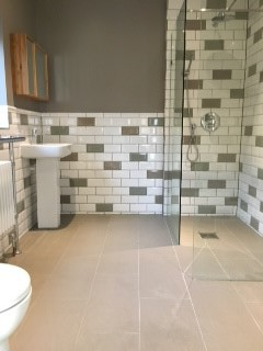 Wet Room metro tiles Design, plumbing, under floor heating, tiling and decoration