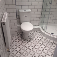 grey and white monochrome bathroom new metro and Moroccan tiles