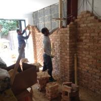 interior brick wall installation bricklayers industrial look loft effect