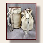 All deerskin round flat bottom hand stitched pouch