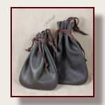 Old fashioned leather drawstring pouch