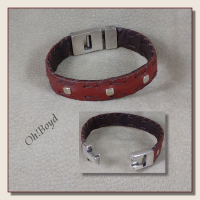 Go to slim band leather bracelets with silver inlays.