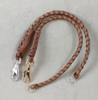 Fob straps - one clip and split ring on brown braided deerskin leather.