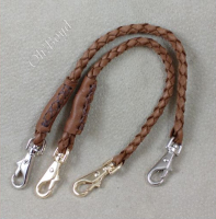 Fob straps - two clips on brown braided deerskin leather.