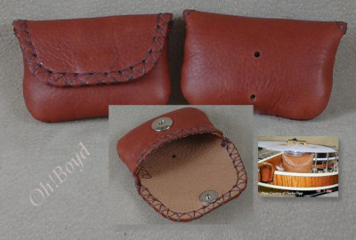 Banjo Pick Pouches by OhBoyd Leather fit on a banjo's J-hook.
