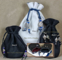 Cinch pouch closed, then wrap excess length around back or the jewelry pouch and tie in front.