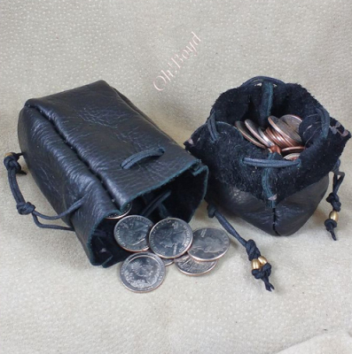 Leather drawstring coin pouches close securely, fit pocket.