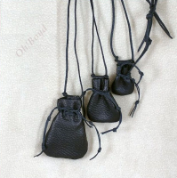 Three sizes tiny drawstring necklace pouches, hand stitched in brown or black deerskin