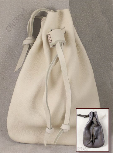 These all deerskin drawstring pouches come in four sizes.