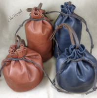 Try these sit-flat leather bags for rocks and crystals.