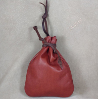 These pouches feature a strong leather drawstring and a tying thong (hanger).