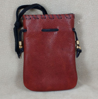 Tobacco pouch open flat front.