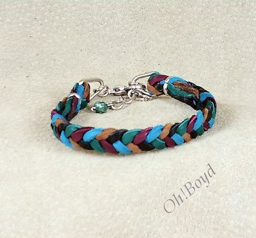 Choose up to five colors for your herringbone weave deerskin bracelet.