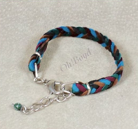 Tough steel hardware featured on these custom braided bracelets.