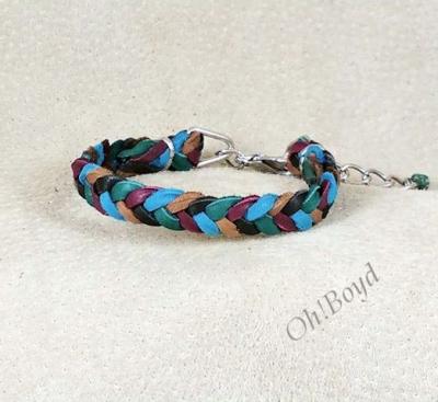 Custom made herringbone weave deerskin bracelet.