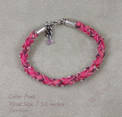 Round braid pink deerskin bracelet with tiny seed beads fits up to 7-1/2-inches.