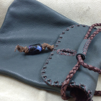 Detail - beaded flap and handmade bead by Lost Art Originals.