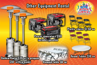 outdoor heater rental colorado springs, generator rental colorado springs, round table rental colorado springs, rectangular table rental colorado springs, chairs for rent in colorado springs