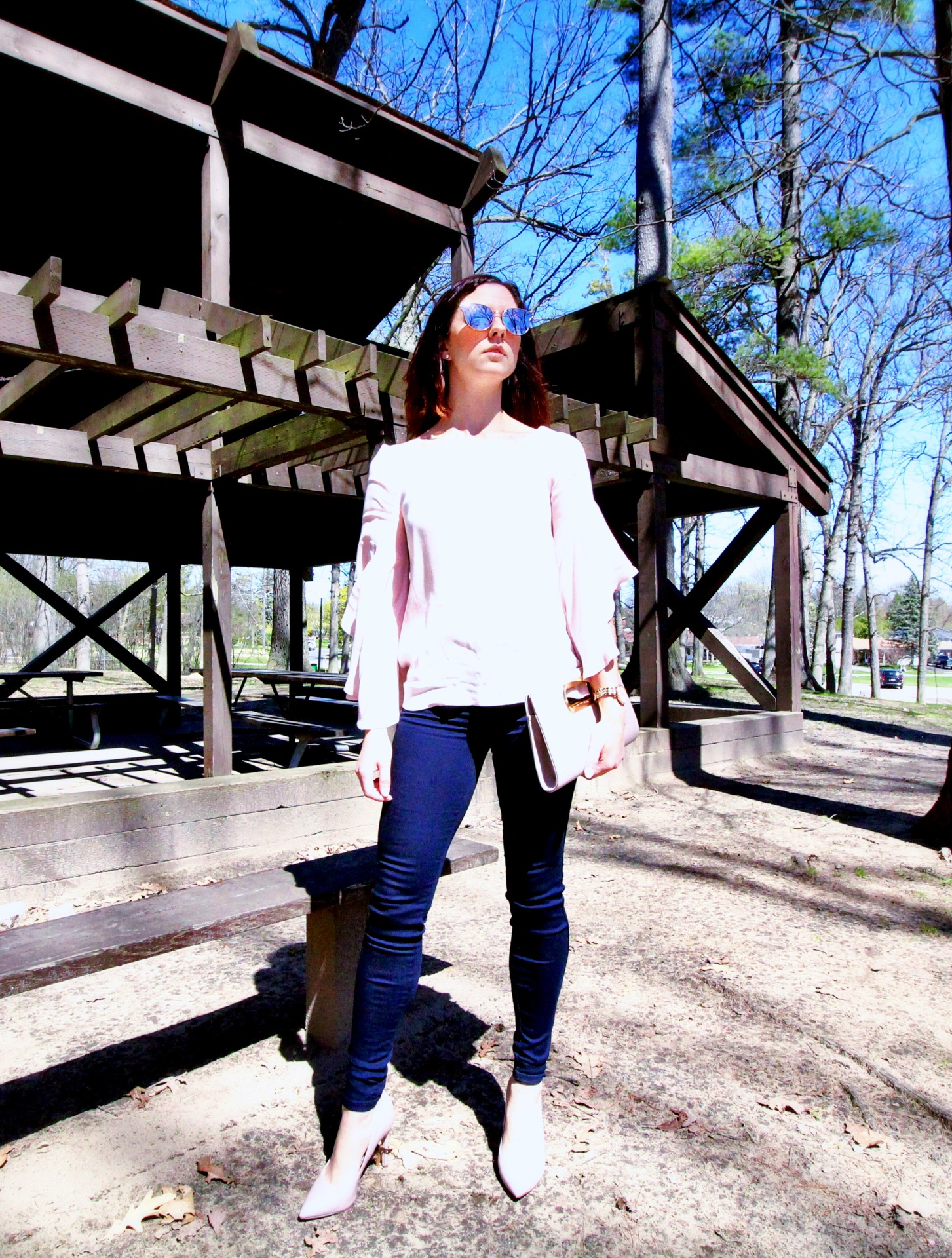Bell Sleeves & Navy Jeans