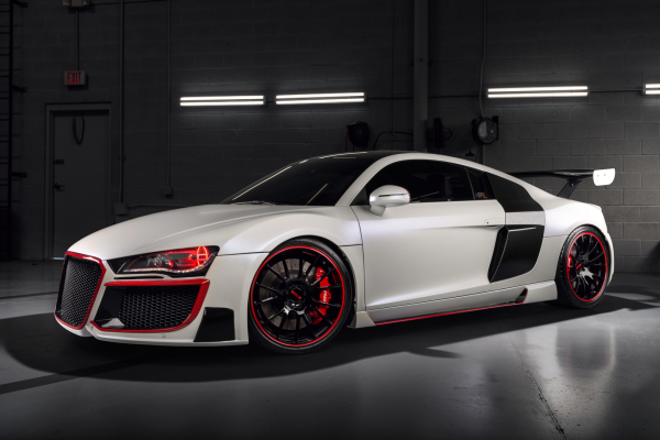 "Audi R8 ""Stasis"" Pearl White with bright Red Accents"