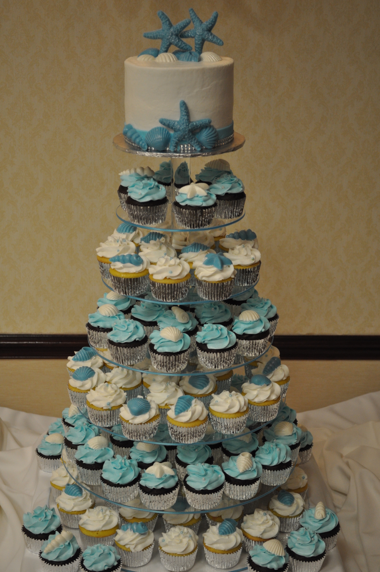 Beach theme summer cupcake tower