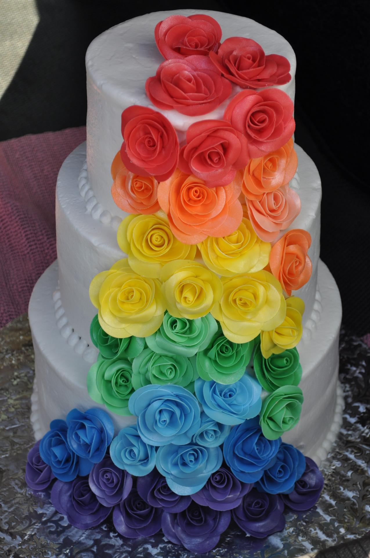 Rainbow sugar roses