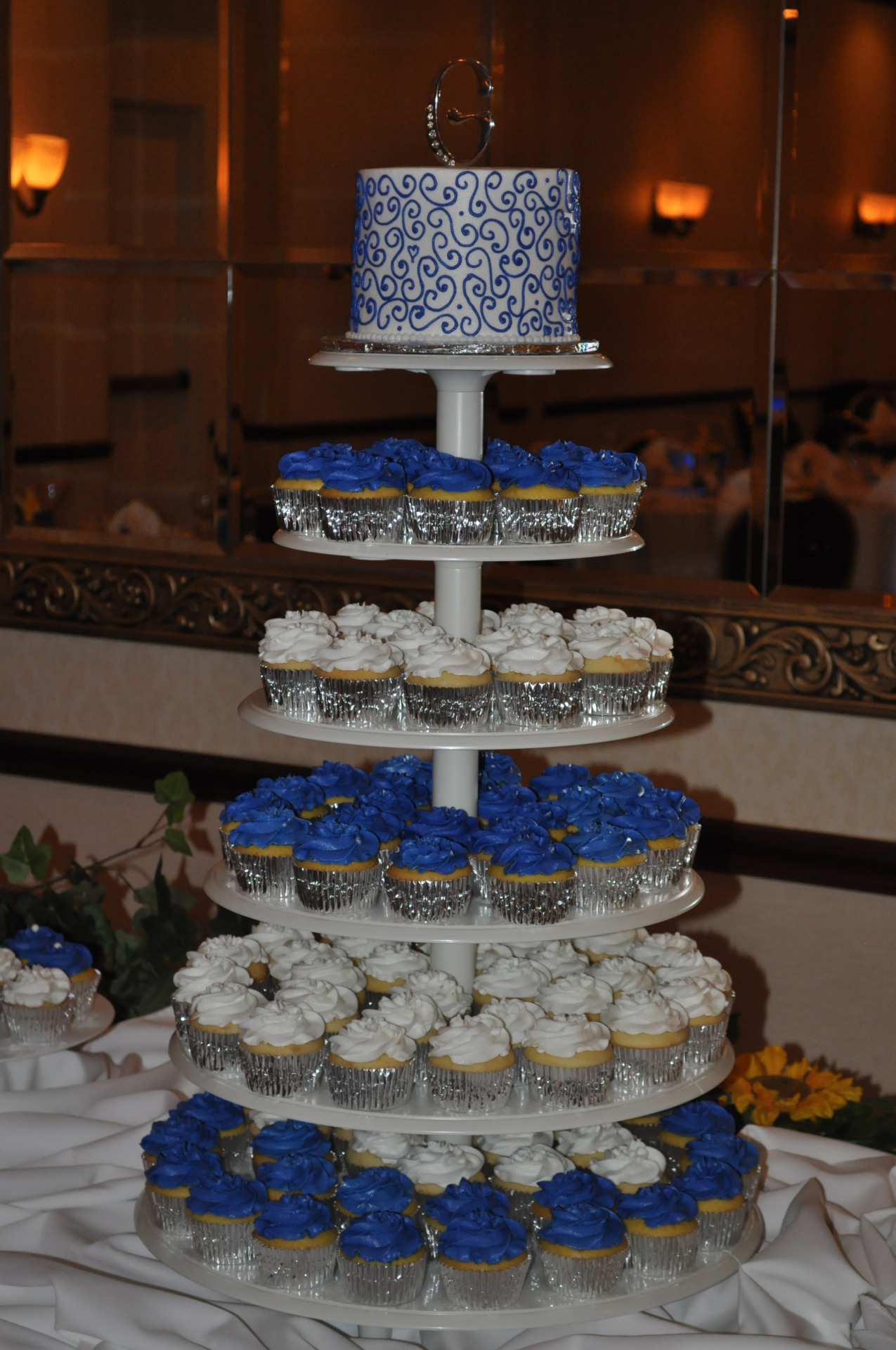 Royal Blue and White cupcake tower