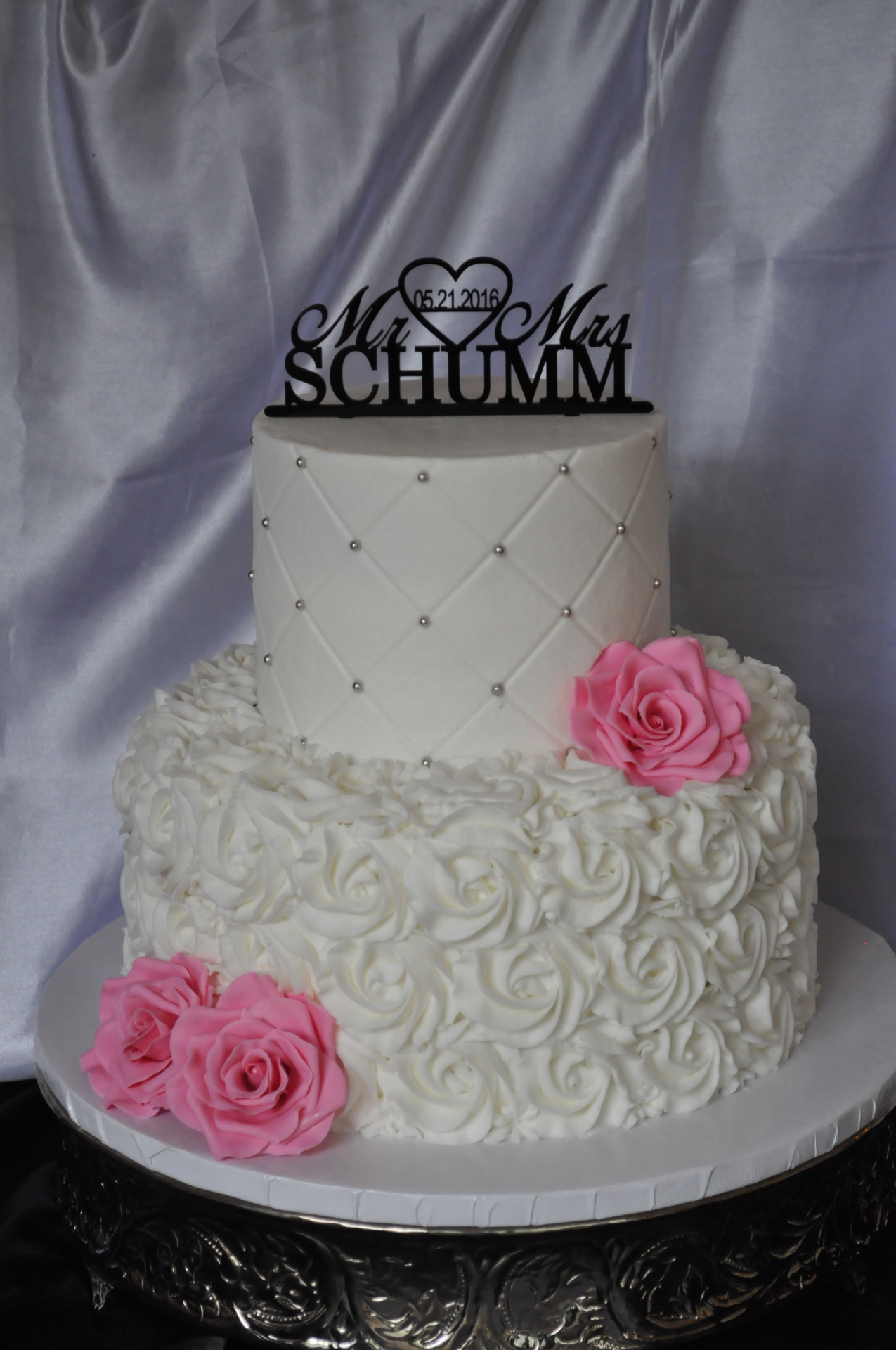 White rosettes and pink sugar roses 2 tier